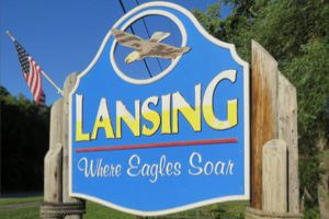 Lansing welcome sign: Where the Eagles Soar
